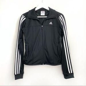 Adidas Black Logo Zip Up Zipper Jacket Stripes S